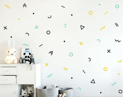 מדבקות קיר צורות גיאומטריות | מדבקות קיר לחדרי ילים | מדבקות לחדרי תינוקות ונוער