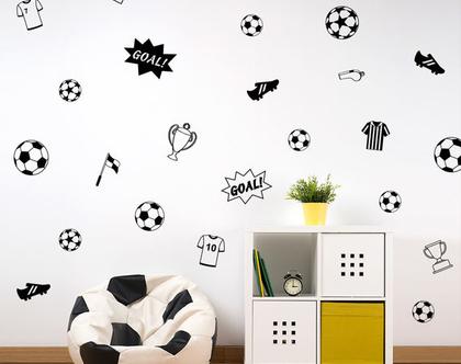 מדבקות קיר כדורגל | מדבקות קיר לחדרי ילים | מדבקות ספורט כדור שחקן כדורגל משקח