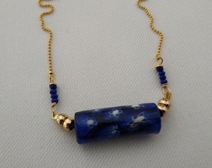 שרשרת זהב קצרה // תליון כחול art deco // מתנה ליום הולדת // שרשרת בוהמית // שרשרת קצרה
