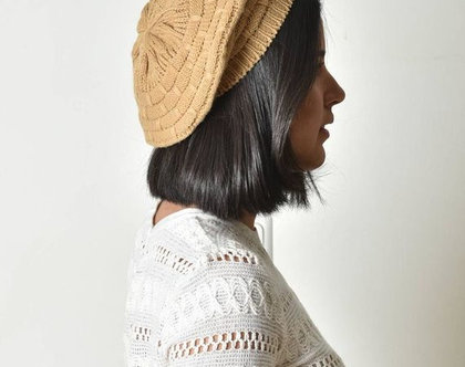 כובע ברט, כובע סרוג, ברט לנשים, ברט צרפתי, כובע בצבע בז', כובע לדתיות, ברט וינטג', כובע וינטג'