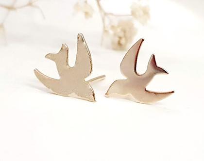 עגילי ציפור, עגילי ציפורים צמודים, עגילי זהב צמודים, עגילים מעוצבים, עגילים יומיומיים לאישה, עגילים מתנה,