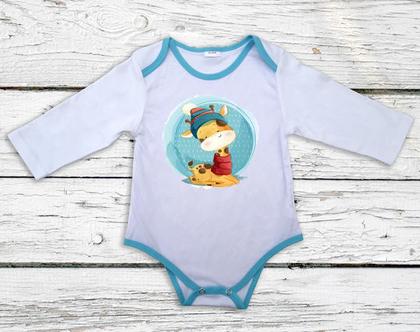 בגד גוף לתינוק עם שרוול ארוך ופס קישוט בצבע טורקיז