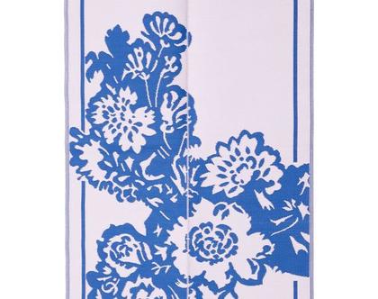 RICE DK | מחצלת פלסטיק ממוחזר פרחים כחול ורוד