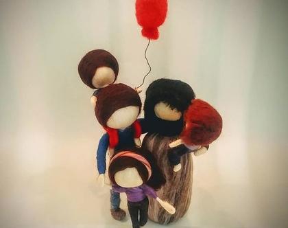 משפחה מלובדת, בובות של משפחה, הורים וילדים, מתנה לאמא/אבא
