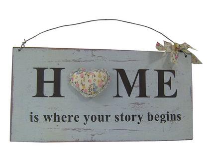 """שלט HOME קטן עם קישוט עם """"לב"""""""