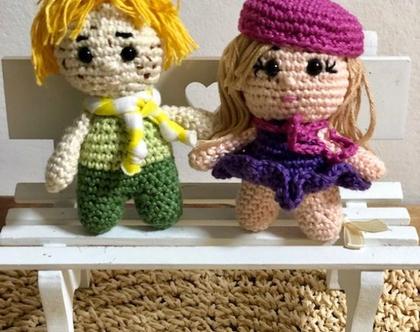 בובת מיני סרוגה  בובה סרוגה קטנטנה  בובת ילד סרוגה בובת ילדה סרוגה  בובות מיני לחדר ילדים