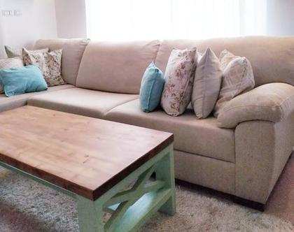 שולחן סלון | שולחן סלון עץ מלא | שולחן סלון כפרי