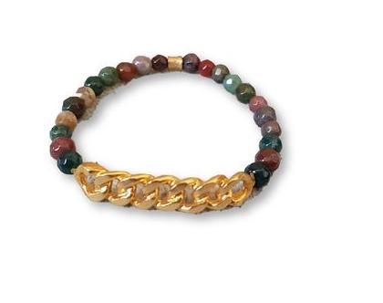 צמיד אבני חן, שילוב צבעים מגוון, עם רצועת גורמט ציפויי זהב מט