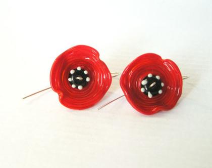 עגילי פרחים מזכוכית, עגילי פרגים אדומות,