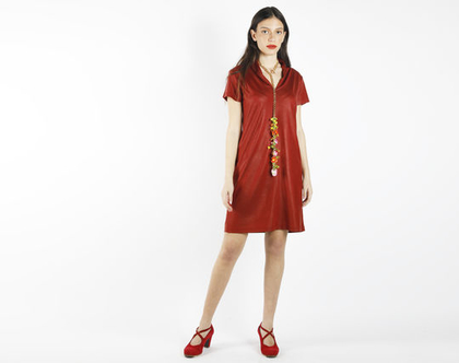 שמלת מיני אדומה - אדום בריק