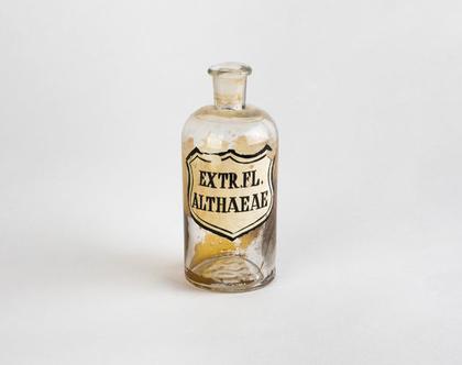 בקבוק בית מרקחת עשוי זכוכית - Extr. Fl. Althaeae