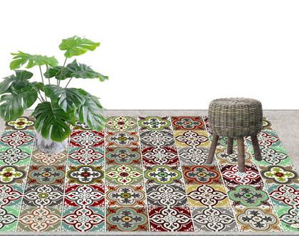 שטיח פי.וי.סי מעוצב דגם ETHNIC | שטיח PVC למטבח | שטיח PVC לבית | שטיח בעיצוב מקורי