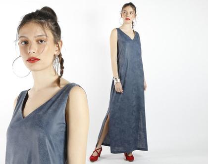 שמלת מקסי כחולה מבד דמוי עור