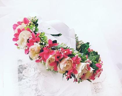קשת לראש מפרחים מלאכותיים | קשת לשיער | פרחים לבנים| פרחי משי | פרחים מלאכותיים | זר פרחים | קשת פרחים לראשקשת לשיער| זר לראש