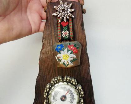 קולב מיתלה וינטאג' אמיתי הולנדי עם שעון טמפרטורה ופעמון ישן מאוד קולב עץ