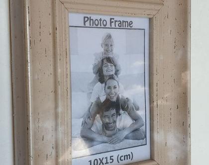 מסגרת לתמונה 10×15 | מסגרת במראה עץ בז' וינטאג'