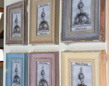 מסגרת לתמונה 10×15 | מסגרת במראה עץ בז' חלק וינטאג'