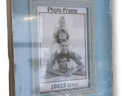 אזל - מסגרת לתמונה 10×15 | מסגרת במראה עץ תכלת וינטאג'