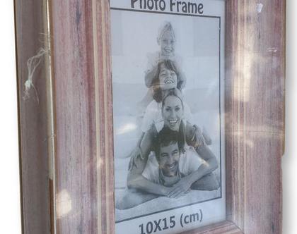 אזל - מסגרת לתמונה 10×15 | מסגרת במראה עץ סגלגל ורדרד וינטאג'