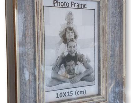 אזל - מסגרת לתמונה 10×15 | מסגרת במראה עץ כחול ג'ינס וינטאג'