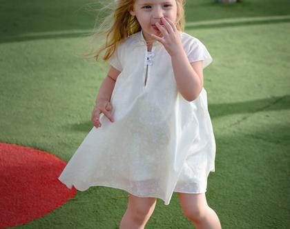 שמלת לילדה עם צווארון סיני , שמלת איב בצבע שמנת כותנה