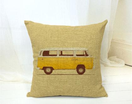 כרית נוי - אוטובוס רטרו צהוב