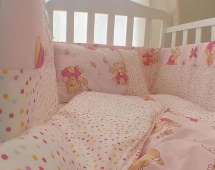 סט למיטת תינוקסט חורף למיטת תינוק,מצעי חורף,מארז חורף לתינוקות,מגן ראש,שמיכת פוך לתינוק,כרית לתינוק,חורף לתינוקות,מצעי חורף לתינוקות