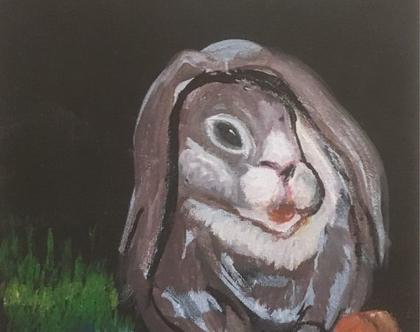 """ארנב - ציור אקריליק על בד קנבס 20X20 ס""""מ"""