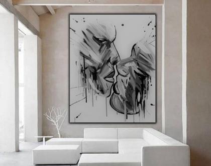 """""""זוגיות בשחור לבן"""" - יצירה בעבודת יד מיוחדת של זוגיות בשחור לבן."""