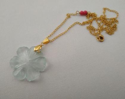 תליון זהב ארוך // תליון פרח תכלת // שרשרת מינימליסטית // שרשרת מתנה ליום הולדת