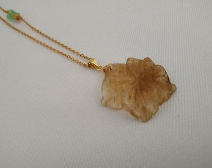 שרשרת זהב ארוכה // תליון זכוכית פרח דבש // שרשרת פרח // שרשרת מינימליסטית