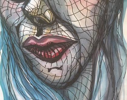 """""""מיפוי פנים"""" - ציור אקוורל משולב טוש שחור גודל A4"""