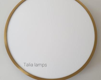 מנורת תקרה רינג זהב   תאורת לד Round Gold - 60 /80   גוף תאורה צמוד תקרה