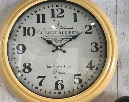 שעון קיר צהוב