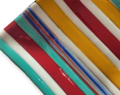 צלחת מרובעת צבעונית פיוזינג פסים