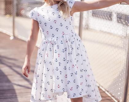 שמלה מסתובבת לילדה - שמלה אסימטרית - בד כותנה