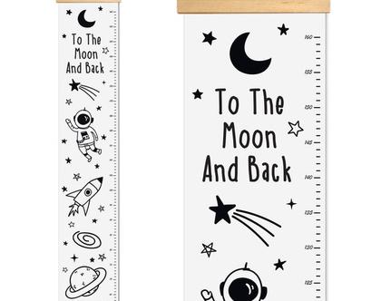 מד גובה לילדים - חלל החיצון | מד גובה קנבס חללית אסטרונאוט חלל החיצון | מד גובה לחדר ילדים I מדי גובה לחדרי ילדים | אקססוריז לחדרי ילדים