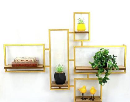 מדפי עץ מחוברים מסגרת זהב קטן