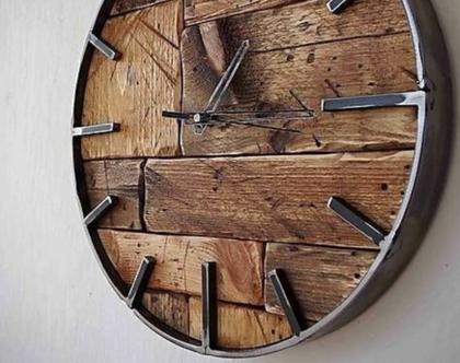 שעון עץ מלא וברזל