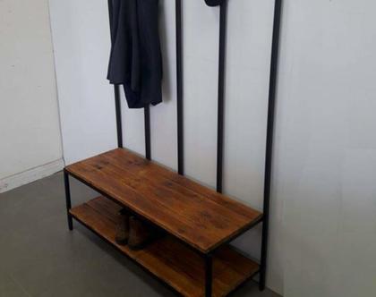 שידה / מתלה מעילים עם ספסל אחסון לנעליים