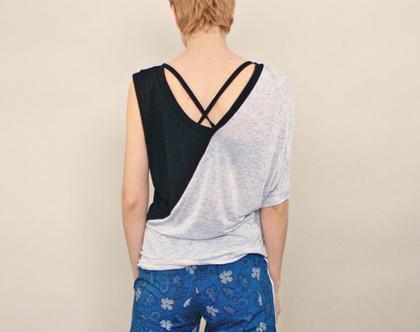 חדש! חולצה אסימטרית לקיץ באפור ושחור, חולצה קלילה מויסקוזה