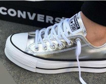 אולסטאר פלטפורמה כסף מטאלי נשים Converse Metal Platform Silver