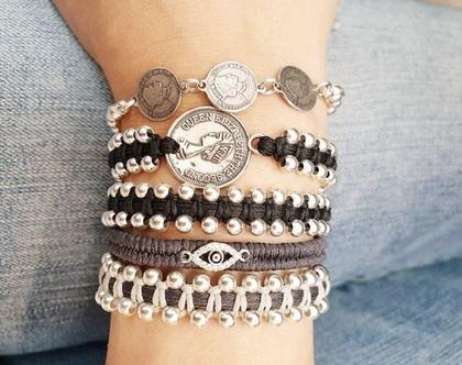 4 צמידים עבודת יד - צמידי עין כסף קלועים מקרמה עבודת יד - צמידי כסף 925 - צמיד עבודת יד - מתנה מיוחדת - צמיד מעוצב - צמידי מעצבים