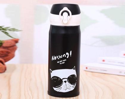 בקבוק שתייה מנירוסטה / בקבוק שתיה / בקבוק בעיצוב מדליק / מתנה לאוהבי חתולים