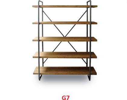 כוננית 5 מדפים עשויי עץ וברזל