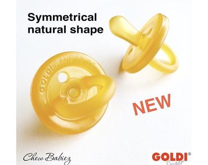מוצץ גולדי סאוגר סימטרית /מוצץ גומי / מוצצי גומי טבעי 100% / מוצצים גומי / מוצץ גומי טבעי / Goldi Sauger dummies