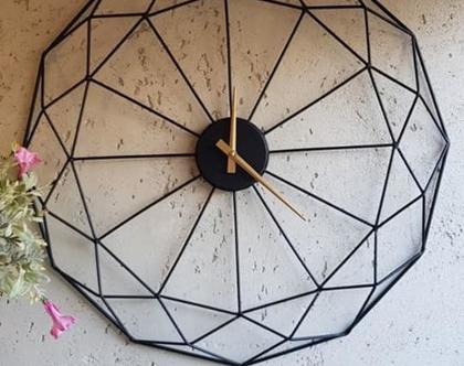 שעון ללא ספרות קוטר 60 סמ ברזל שחור