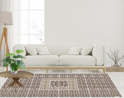 שטיח פי.וי.סי Oriental brown | שטיח ויניל מעוצב לבית | שטיח PVC מעוצב לבית | שטיח בצבע חום ולבן