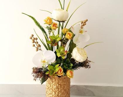 סידור פרחים מלאכותי סחלב ירוק ולבן