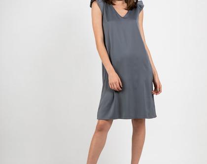 שמלת קוקטיל מבד סטן בצבע אפור-דגם פטיפור